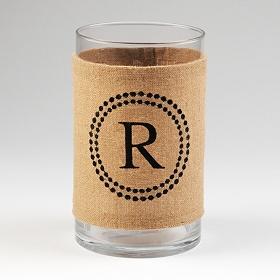 Burlap Monogram R Vase