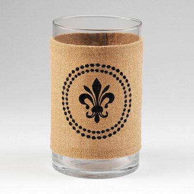 Burlap Fleur-de-lis Vase