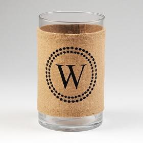 Burlap Monogram W Vase