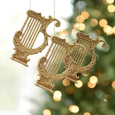 Golden Harp Ornament, Set of 3