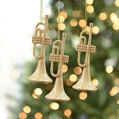 Golden Trumpet Ornament, Set of 3