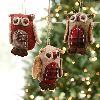 Burlap Owl Ornaments, Set of 3