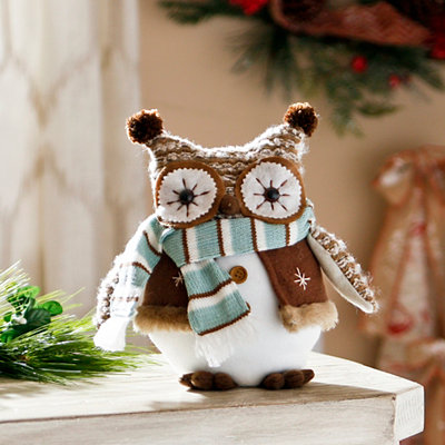 Plush Frosty Owl with Blue Scarf