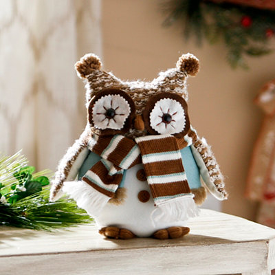 Plush Frosty Owl with Brown Scarf
