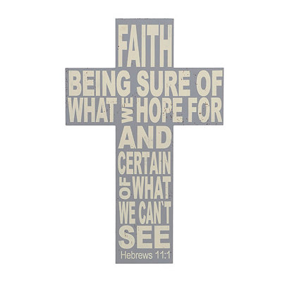 Distressed Gray Faith Cross