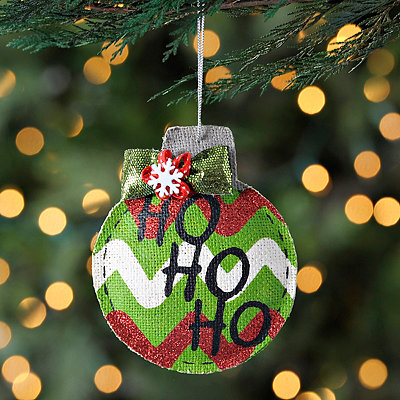 Chevron Burlap Ho Ho Ho Ornament