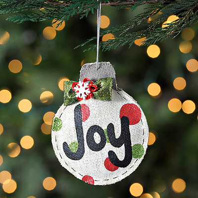 Polka Dot Burlap Joy Ornament