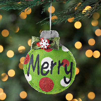 Polka Dot Burlap Merry Ornament