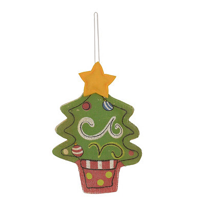 Painted Burlap Christmas Tree Ornament