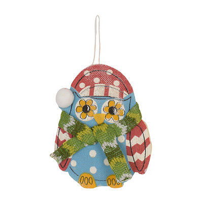 Painted Burlap Owl Ornament
