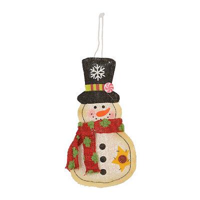 Painted Burlap Snowman Ornament