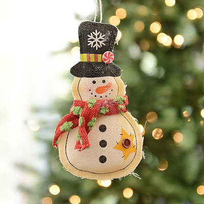 Painted Burlap Snowman Ornament