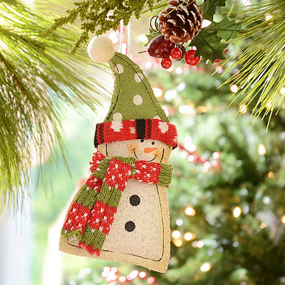 Painted Burlap Little Snowman Ornament
