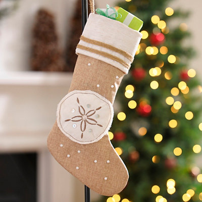 Coastal Sand Dollar Burlap Christmas Stocking