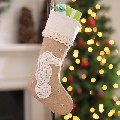 Coastal Seahorse Burlap Christmas Stocking
