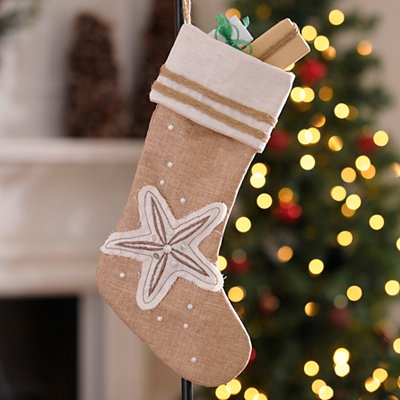 Coastal Starfish Burlap Christmas Stocking