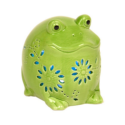 Green Frog LED Statue