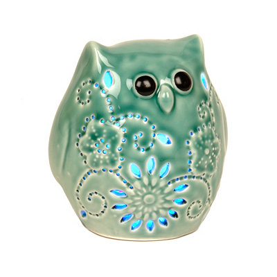 Teal Owl LED Statue