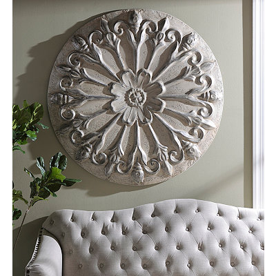 Distressed Cream Rosette Round Metal Tile