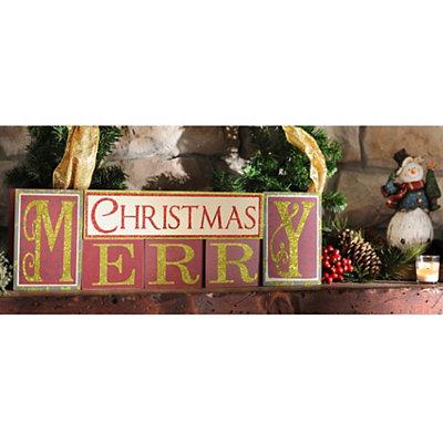 Merry Christmas Blocks, Set of 6
