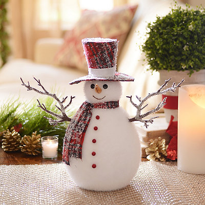 Snowman Statue with Plaid Hat and Scarf