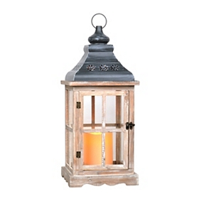 White Washed LED Lantern