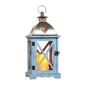 Distressed Blue LED Lantern