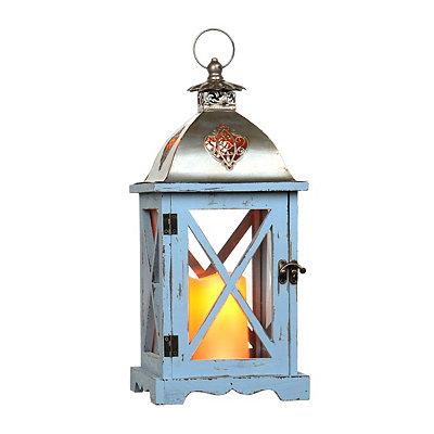 Distressed Blue LED Lantern