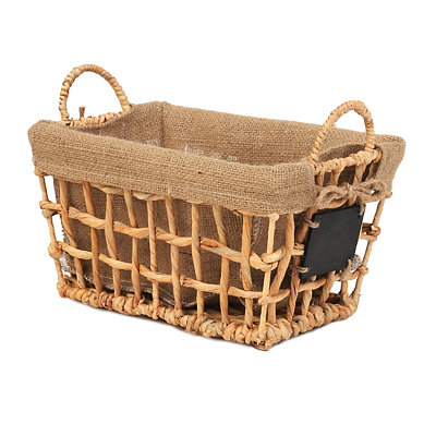 Hyacinth and Burlap Basket with Chalkboard, Small