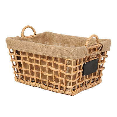 Hyacinth and Burlap Basket with Chalkboard, Large