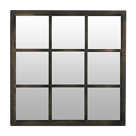 Bronze Window Pane Decorative Mirror, 20x20