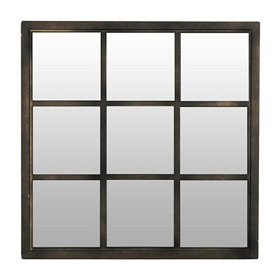 Bronze Window Pane Decorative Mirror, 20x20