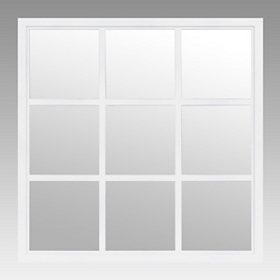 White Window Pane Decorative Mirror, 20x20