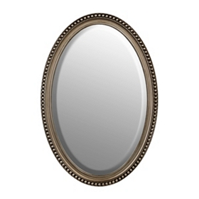 Silver Beaded Framed Oval Mirror, 21x31