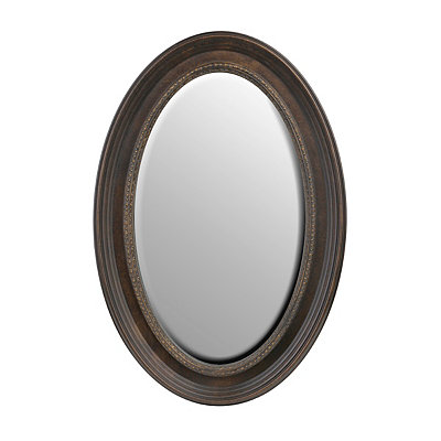 Dark Tortoise Oval Framed Mirror, 21x31