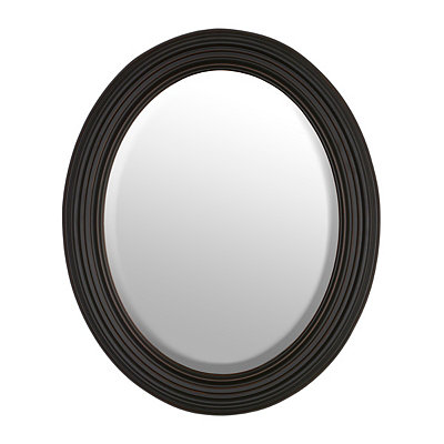 Distressed Black Oval Framed Mirror, 28x34