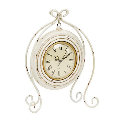 Distressed White Scroll Tabletop Clock