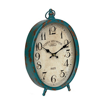Distressed Blue Oval Tabletop Clock