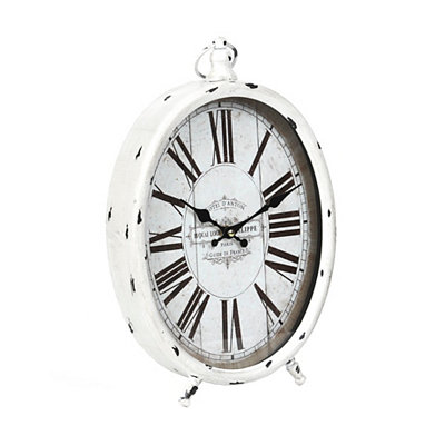 Distressed White Oval Tabletop Clock