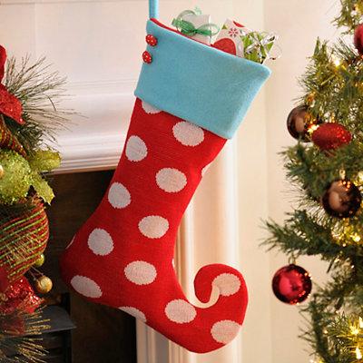 Holly Jolly Polka Dot Elf Stocking