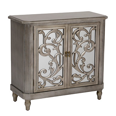 Mirrored Silver Leaf Scroll Cabinet
