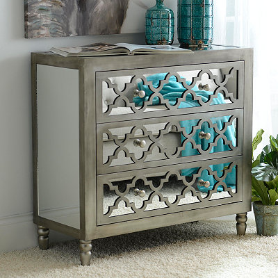Geometric Mirrored 3-Drawer Chest