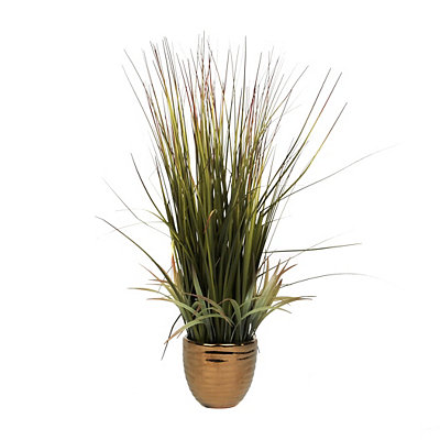 Grass Arrangement in Gold Ceramic Pot