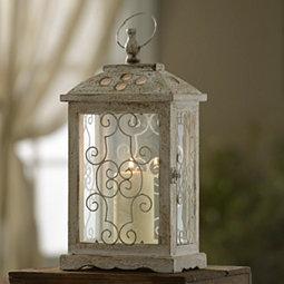 Antique White Wood Lantern