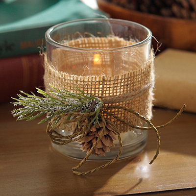 Burlap and Pine Votive Candle Holder