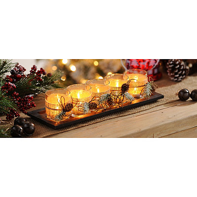 Burlap and Pine Votive Candle Runner