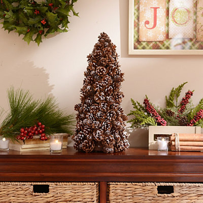 Snowy Pinecone Tree, 13 in.