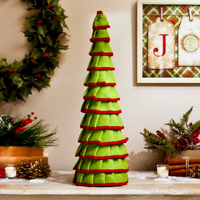 Green & Red Ruffled Jute Cone Tree, 24 in.