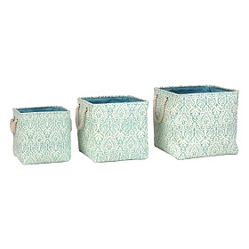 Blue Damask Storage Bins, Set of 3