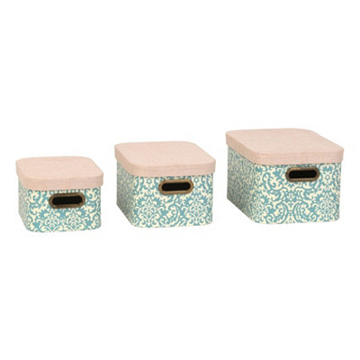 Blue Damask Storage Boxes with Lids, Set of 3